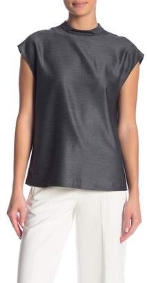 Tibi Mock Neck Cap Sleeve Blouse