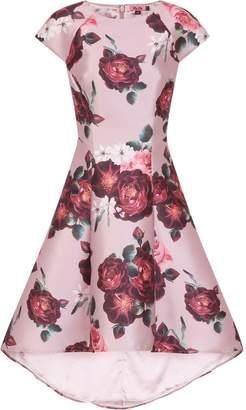 Dorothy Perkins Womens *Chi Chi London Pink Floral Print Dip Hem Skater Dress