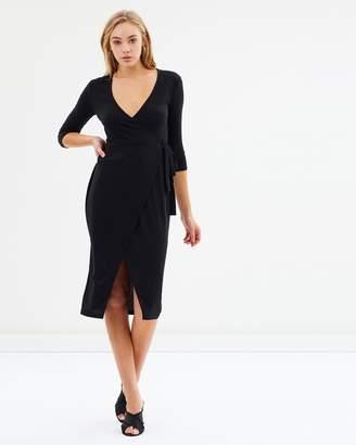 Miss Selfridge Rib Wrap Midi Dress
