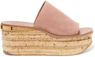 Chloé Camille Suede Wedge Sandals - Neutral