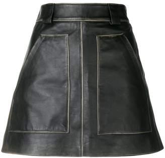 Prada A-line leather mini skirt