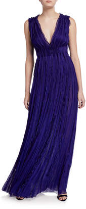 Jason Wu Collection Crinkled Chiffon V-Neck Gown