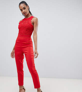 Missguided cornellie lace jumpsuit in red