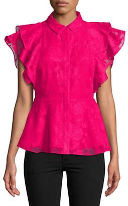 Isaac Mizrahi IMNYC Ruffle Peplum Shirt