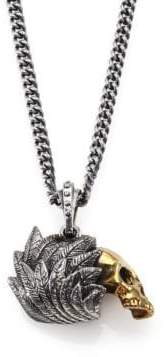 King Baby Studio Alloy Skull with Silver Raven Wing Pendant Necklace
