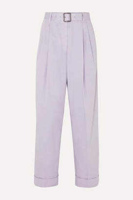 Dries Van Noten Belted Cotton-twill Tapered Pants - Lilac