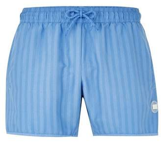 Topman Mens Blue Stripe Swim Shorts