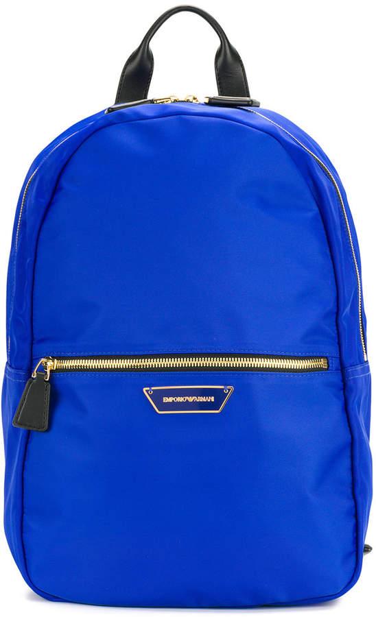 Emporio Armani logo plaque backpack