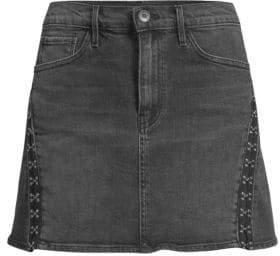 3x1 Denim Corset Trim Mini Skirt
