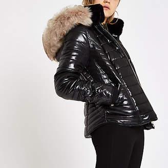 River Island Black faux fur trim high shine puffer jacket
