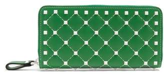 Valentino Free Rockstud Leather Continental Wallet - Womens - Green White