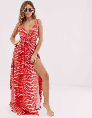 Asos Design DESIGN tie back cross front split maxi beach dress in red tiger print