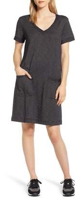Caslon Patch Pocket V-Neck T-Shirt Dress
