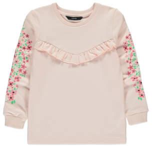 George Pink Floral Ruffled Sweatshirt