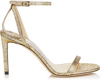 Jimmy Choo MINNY 85 Gold Metallic Lizard Nappa Print Leather Sandals