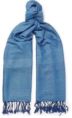 Il Bussetto Fringed Indigo-Dyed Cotton Scarf