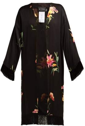 Etro Meadows Lily Print Satin Kimono Jacket - Womens - Black Multi