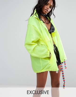 Reclaimed Vintage Inspired Festival Neon Rain Trench Jacket With Concealed Hood $64 thestylecure.com