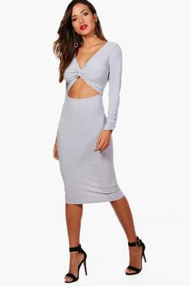 boohoo Knot and Cut Out Detail Midi Dress