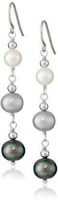 "Honora Tuxedo"" Freshwater Cultured Pearl Line Earrings"