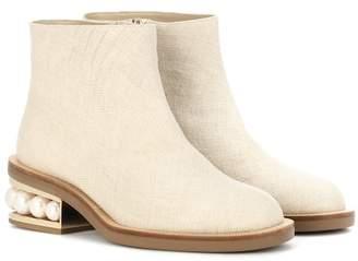 Nicholas Kirkwood Casati Pearl raffia ankle boots