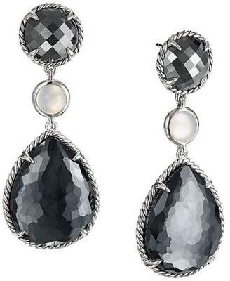 David Yurman Chatelaine Teardrop Earrings with Hematine with Crystal Overlay, Hematine & Milky Quartz Over Mother-of-Pearl