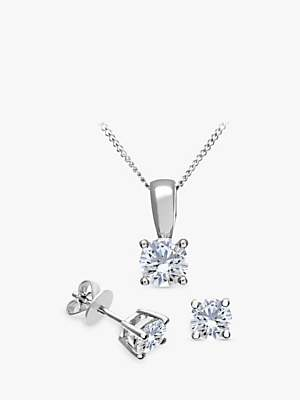 f70a4bc93 Mogul 18ct White Gold Brilliant Cut Diamond Solitaire Stud Earrings and Pendant  Necklace Jewellery Set,