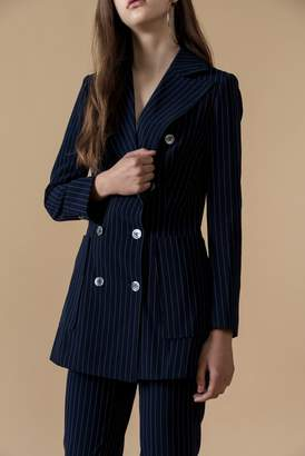 Genuine People Double-Breasted Striped Blazer