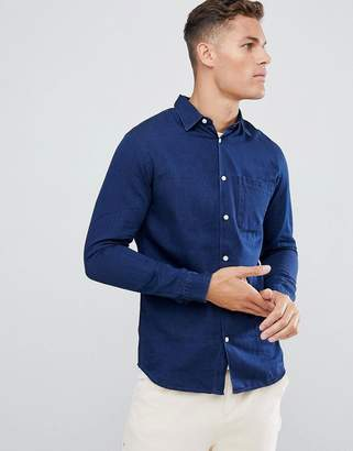 Selected Indigo Shirt In Slim Fit Organic Cotton
