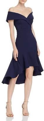 Aqua Off-the-Shoulder Crepe Midi Dress - 100% Exclusive