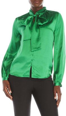 pink tartan Tie-Neck Silk Blouse $295 thestylecure.com
