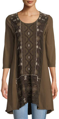Johnny Was Nomi Woven-Panel Knit Easy Tunic