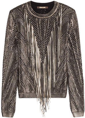 Roberto Cavalli Cotton Pullover with Leather Tassels