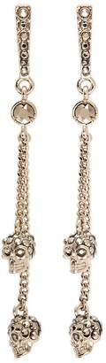 Alexander McQueen Swarovski crystal skull chain earrings