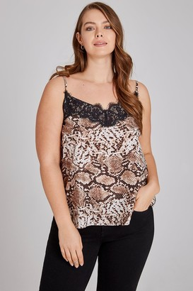 Girls On Film Curvy Leopard Lace Trim Cami