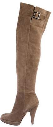 Blumarine Suede Over-The-Knee Boots
