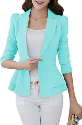 YMING Women Solid Cotton Blazer Long Sleeves Cardigan Work Blazer ,S