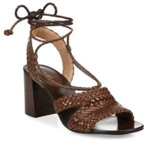 Michael Kors Collection Lawson Leather Lace-Up Sandals