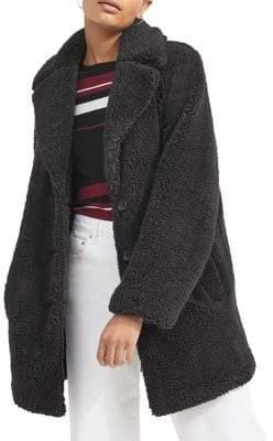Miss Selfridge Faux Fur Plush Teddy Coat