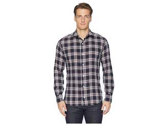 Eleventy Check Spread Collar Brushed Flannel Shirt