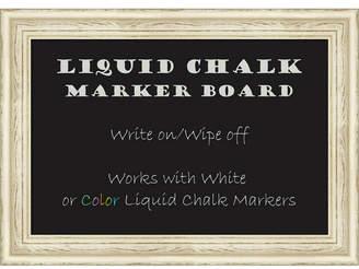 Amanti Art Country White Wash 28x20 Framed Liquid Chalk Marker Board