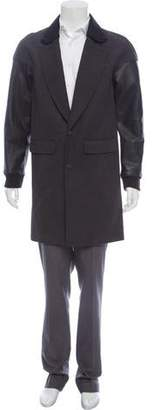 Alexander Wang Leather-Trimmed Overcoat w/ Tags