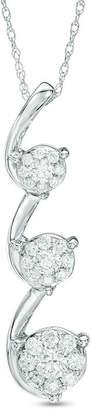 Zales 3/4 CT. T.W. Composite Diamond Triple Drop Pendant in 14K White Gold
