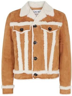 Loewe Camel Shearling-lined Suede Jacket