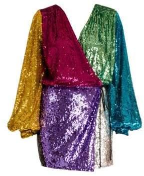 ATTICO Colorblock Sequin Mini Wrap Dress