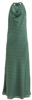 Raey Halterneck Polka Dot Silk Dress - Womens - Green Print