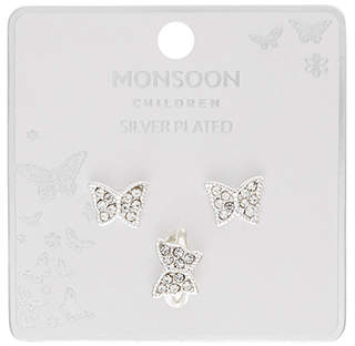 Monsoon Silver Plated Butterfly Earring & Ring Set