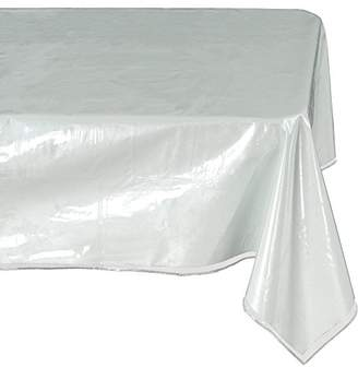clear Ottomanson Heavy Duty Plastic Tablecloth Table Cover Protector White Sewn Edges Border Tablecloth