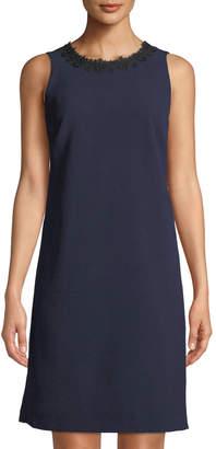 Karl Lagerfeld Paris Lace-Necklace Crepe Trapeze Dress