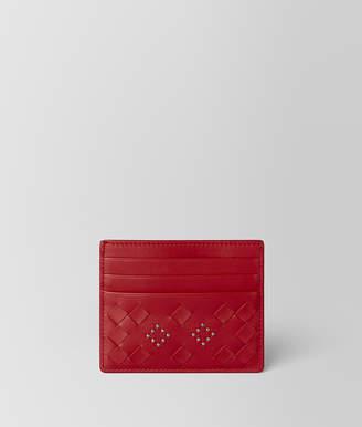 Bottega Veneta CHINA RED NAPPA MICROSTUDS CARD CASE